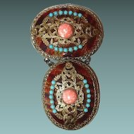 Dangle Filigree Brooch with Faux Tortoise Shell Turquoise and Coral