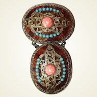 Dangle Filigree Brooch FINAL REDUCTION SALE with Faux Tortoise Shell Turquoise and Coral