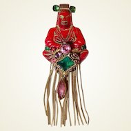 Red Buddha Brooch FINAL REDUCTION SALE Gems and Long Tassel Fringe
