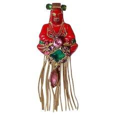 Red Buddha Brooch FINAL REDUCTION SALE Gems and Long Tassel Fringe