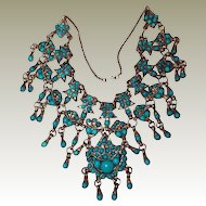 Antique Turquoise Tibet Silver Rare Bib Necklace FINAL REDUCTION SALE