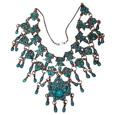 Antique Turquoise Tibet Silver Rare Bib Necklace