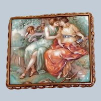 Large French Limoges Picture Brooch Porcelain