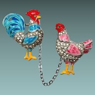 1940 Coro Rooster Hen Chatelaine Pin Rare Book Piece
