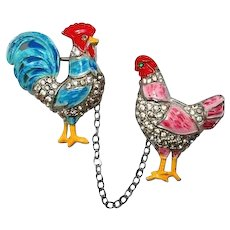 1940 Coro Rooster Hen Chatelaine Pin FINAL REDUCTION SALE Rare Book Piece