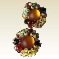 Italian Fire Opal Glass Beaded Clip Earrings