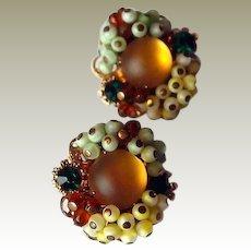 Italian Fire Opal Glass Beaded Clip Earrings