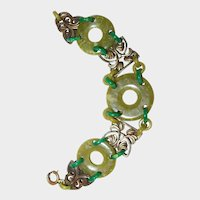 Green Art Nouveau Plastic Donut Ring and Stamped Brass Bracelet