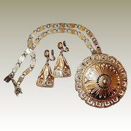 Greek Medallion Pendant Earring Set by Monet