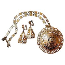 Greek Medallion Pendant Earring FINAL REDUCTION SALE Set by Monet