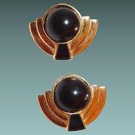 Monet Goldtone Black Cabochon Art Deco Style Clip Earrings