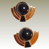 Monet Goldtone Black Cabochon Art Deco Style Clip Earrings