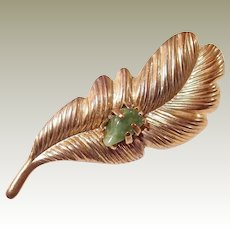 Stamp Etched Feather Pin with Green Prong Stone