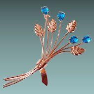 Blue Crystal Sterling Coro Brooch Floral Spray Rose Gold Plate