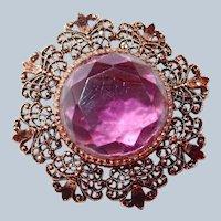 Open Work Brooch Purple Facet Glass Center