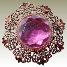 Open Work Brooch Purple Facet Glass Center