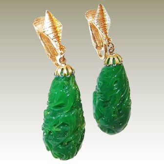 Unique Green Dripped Glass Bead Earrings