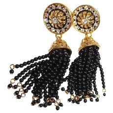 Avon Drop Clip Earrings Black Tassel Simulated Onyx Antique Gold-Tone Book Piece