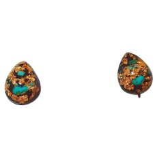 Lucite Encased 23K Gold Flakes and Turquoise Stone Earrings