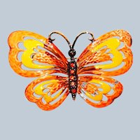 Orange Enamel Butterfly Pin with Rhinestones by Hedison Co.