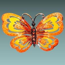 Orange Enamel Butterfly Pin with Rhinestones by Hedison Co.