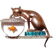Cat Fishing in Jelly Belly Bowl Rare Unsigned Brooch 1946 - in American Costume Jewelry by Brunialti