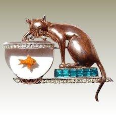 Cat Fish Jelly Belly Bowl Rare Sterling Brooch Designer Antonio Aquilino 1946