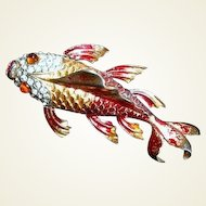 Trembler Fish Brooch Red Enamel Rare Unsigned Book Piece
