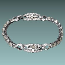 Early Trifari Square Rhinestone Bracelet Art Deco
