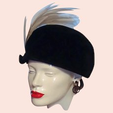 Black Velveteen White Feather Plume Hat Union Beret
