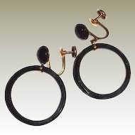 10K Gold Black Onyx Facet Hoop Earrings Screw-back