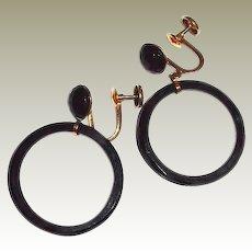 10K Gold Black Onyx Facet Hoop Earrings Screw-back
