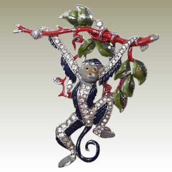 Iconic Trifari Dangling Monkey Clip 1939 by Alfred Philippe