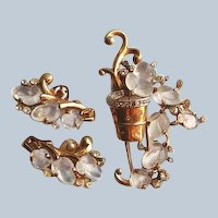 Trifari Fruit Salad Flower Basket Set Alfred Philippe Gold-plated