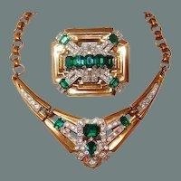 BIG SALE Classic McClelland Barclay Green Emerald Brooch Necklace Set