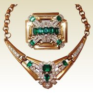 Classic McClelland Barclay Green Emerald Brooch Necklace Set