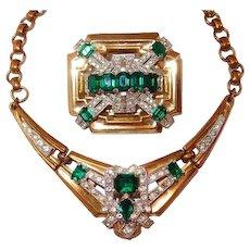 Classic McClelland Barclay Green Emerald Brooch Necklace Set