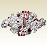 Staret Scrolled Brooch Paved Stone Surface Red Accent