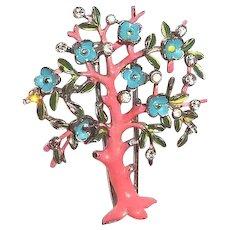 Rare Trifari 1942 Tree Fur Clip Japanese Weeping Cherry Pink Blue Enamel