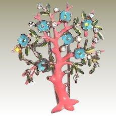Rare Trifari 1942 Tree Clip Pin Pink Blue Enamel