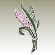 Trifari Enamel Double Hyacinth Clip - Book Piece
