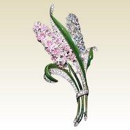 Trifari Enamel Double Hyacinth Clip - Book Piece