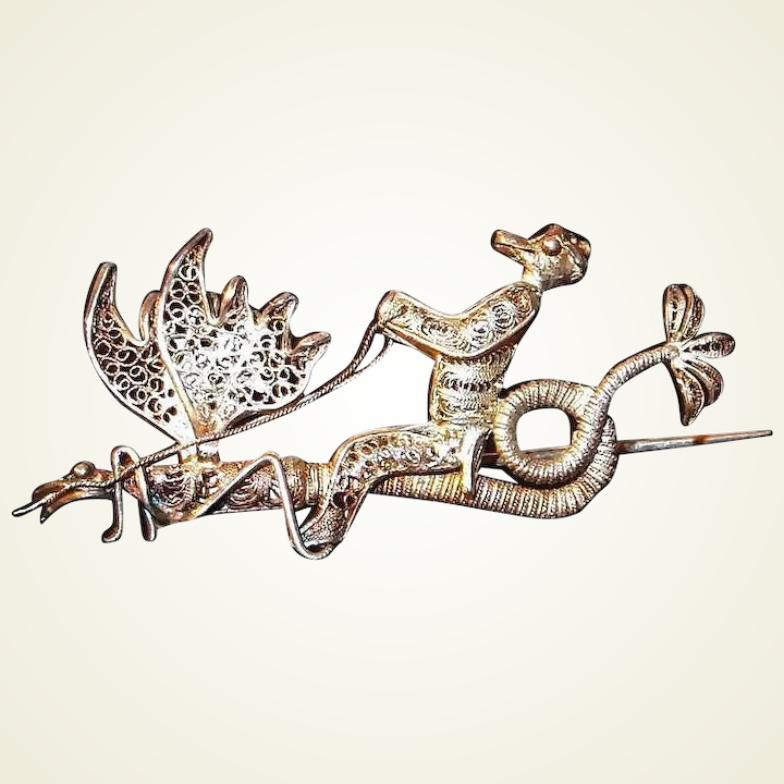 751d054b74068 Silver Mythical Cockatrice Dragon Griffin Pin