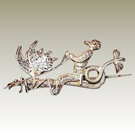 Silver Mythical Cockatrice Dragon Griffin Pin