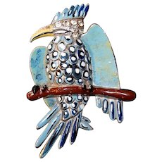 Coro Gessmann Parrot Bird Pin on Branch Blue Polka Dot Enamel Rhinestone Head 1938