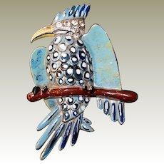 Coro Gessmann Parrot Bird Pin on Branch Blue Polka Dot Enamel Rhinestone Head 1938