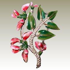 Rare Coro Sweet Pea Brooch Pink Green Enamel Paved Rhinestones