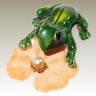 Enamel Frog Lily Pad Pin Original by Robert - Book Piece