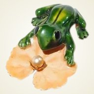 Enamel Frog Lily Pad Pin Original by Robert - Book Piece