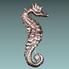 Seahorse Brooch Marked Sterling Gold Vermeil 1954